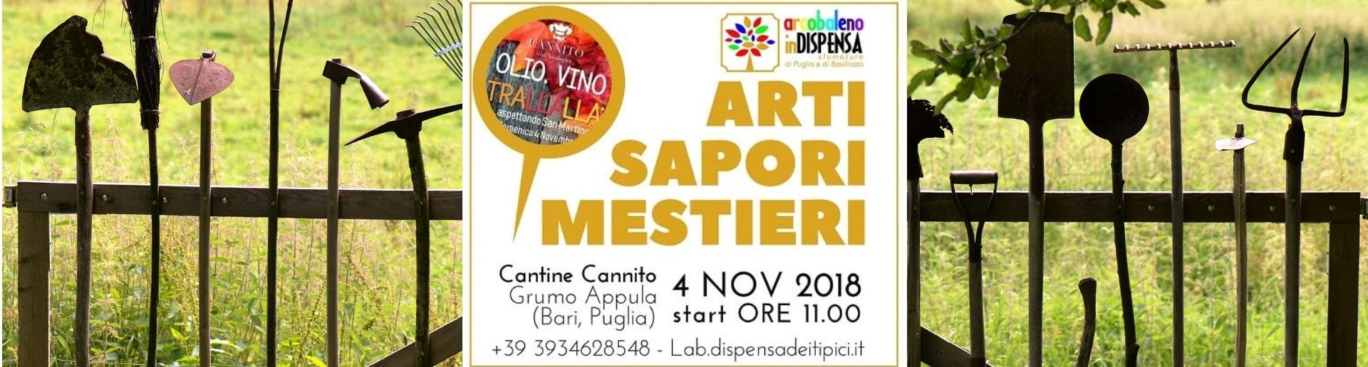 Olio, Vino, TraLLaLLá: arcobaleno di arti, sapori e mestieri a Cantine Cannito il 4 Novembre a Grumo Appula (Bari, Puglia)