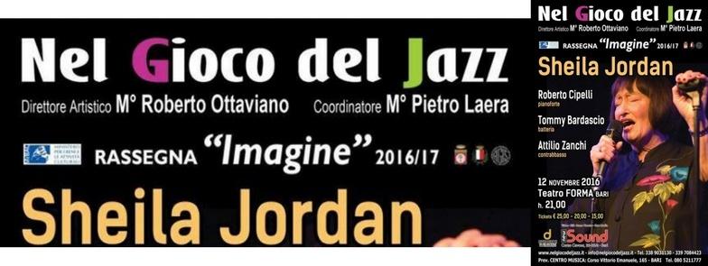 12 NOVEMBRE 2016 | SHEILA JORDAN | NEL GIOCO DEL JAZZ + DISPENSA DEI TIPICI | @ BARI, PUGLIA, ITALIA